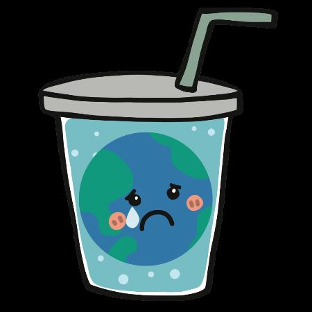 Traurige Erde im Glas mit Plastik Strohhalm